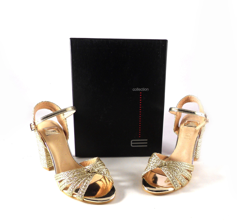 6a45b906b33 Sandalias fiesta mujer E.Ferri doradas de tiras trenzadas