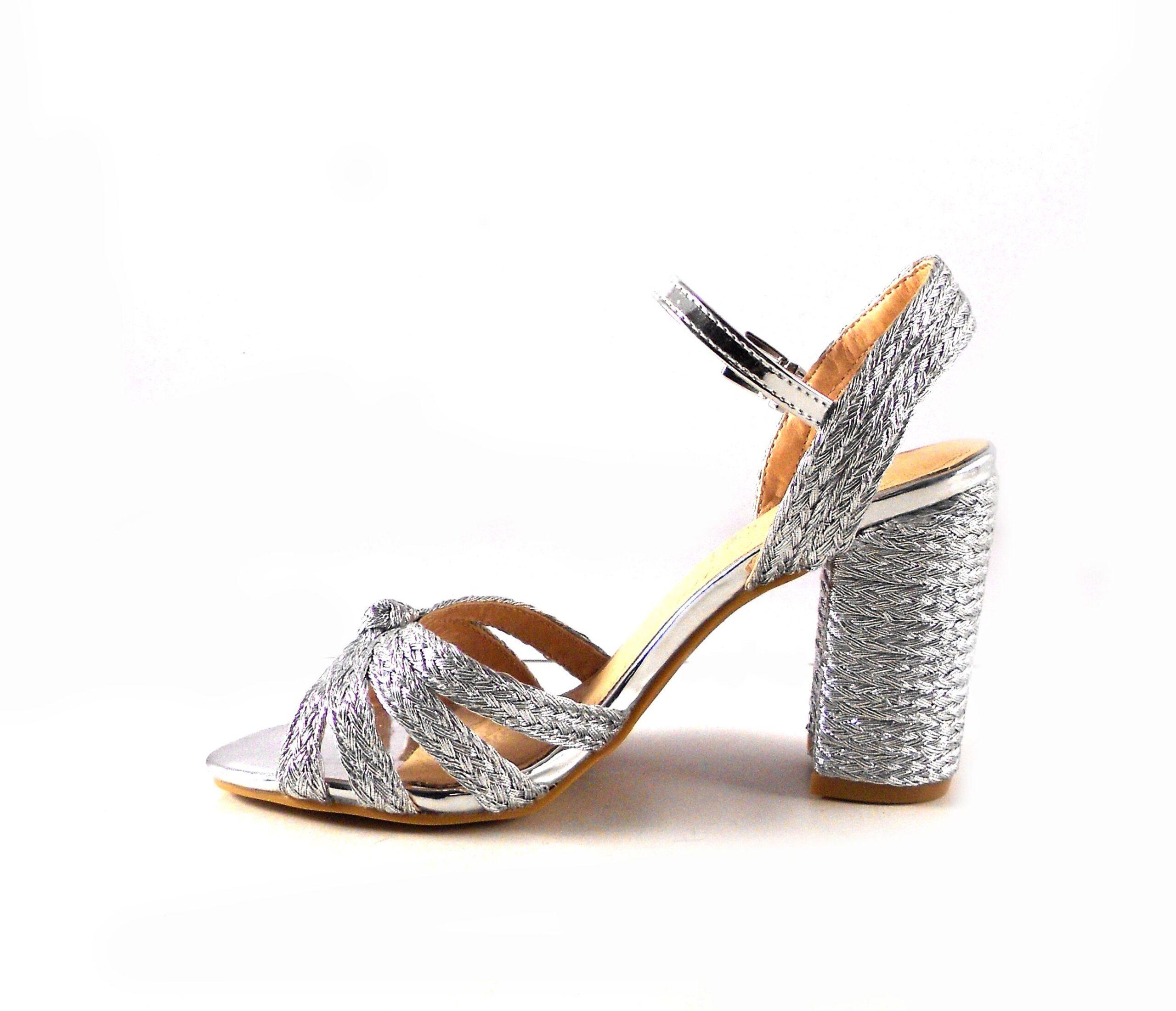 Sandalias fiesta mujer E.Ferri plata de tiras trenzadas