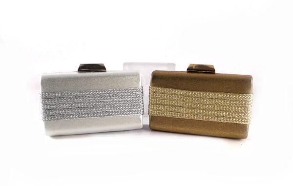 Clutch bronce / plata glitter E.Ferri con cierre metálico