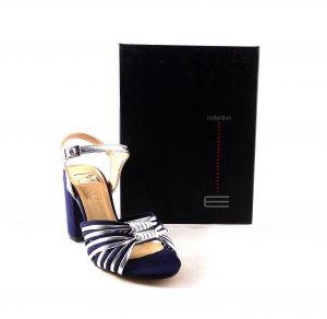 Sandalias de tacón E.Ferri azul marino con plata