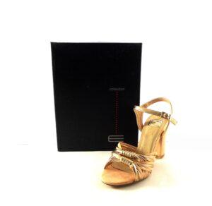 Sandalias de tacón E.Ferri nude con dorado
