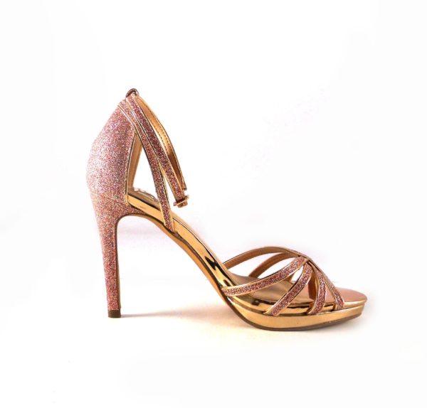 Sandalias de tacón E.Ferri de fiesta rosa glitter