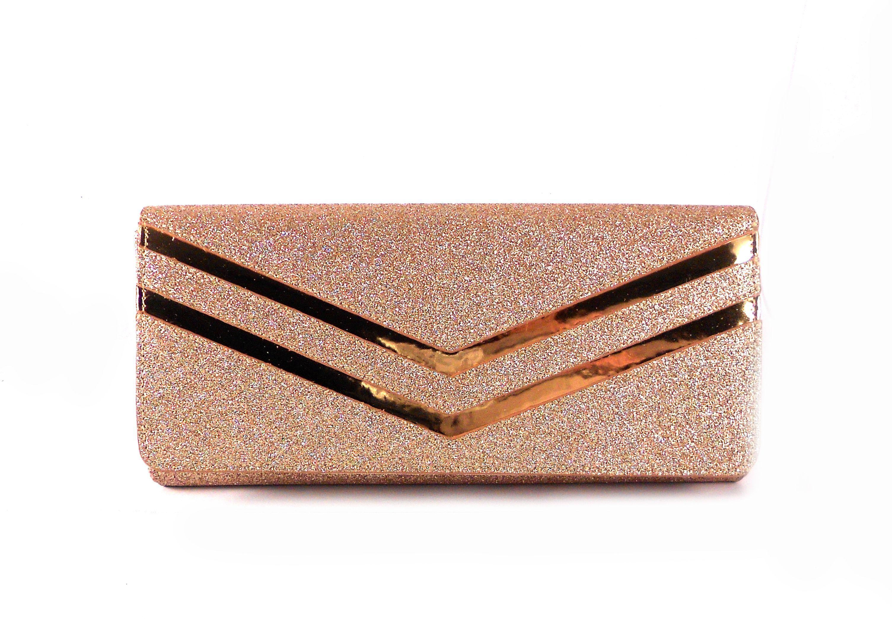 62b9e95b5 Cartera de fiesta E.Ferri rosa glitter con espejo oro