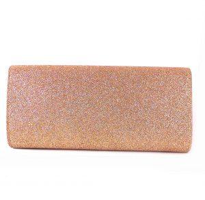 Cartera de fiesta E.Ferri rosa glitter con espejo oro