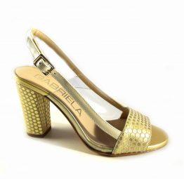 Zapatos de tacón beige Gabriela con laterales transparentes y topos dorados