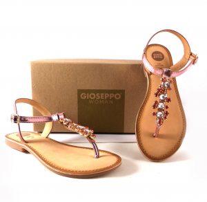 Sandalias esclavas rosas Gioseppo con pedrería fantasía para mujer 45295