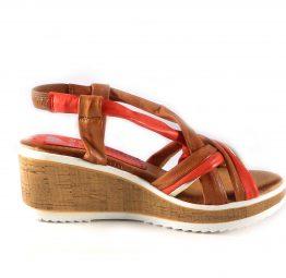 Sandalias de cuña Marila Shoes N315 de tiras cuero y naranja