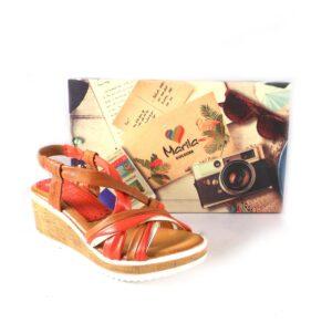Sandalias de cuña Marila Shoes N315 de tiras cuero y rojo