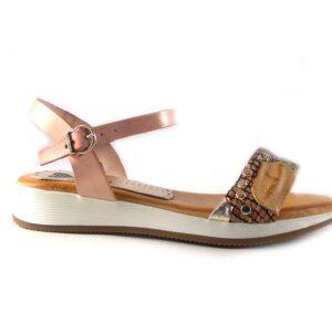 Sandalias planas Marila Shoes N411 rosas combinadas