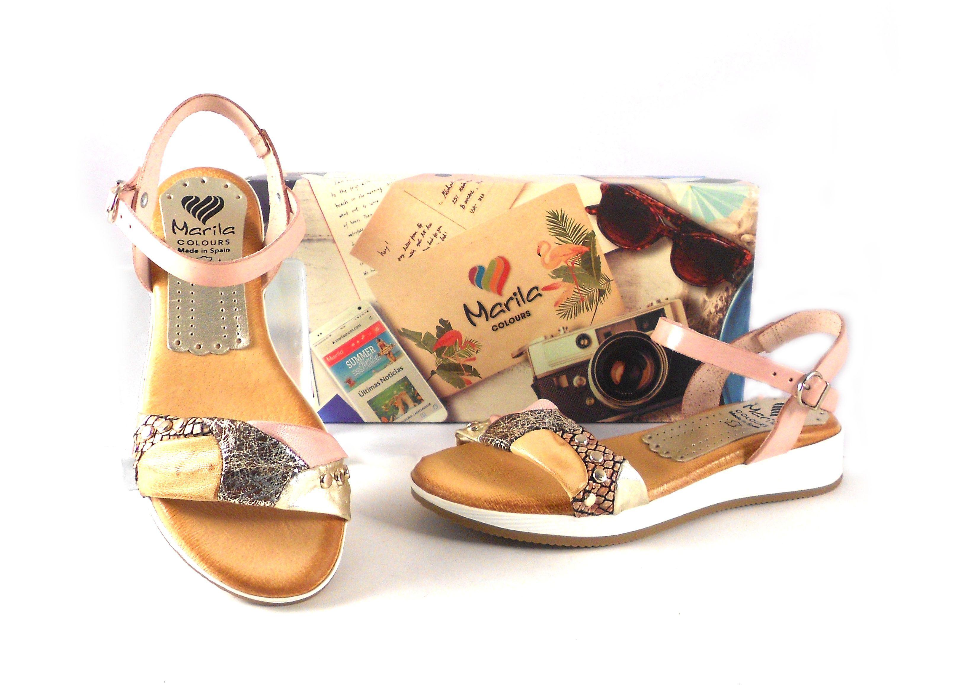 Planas Sandalias Shoes Combinadas N411 Rosas Marila A35RSc4Lqj