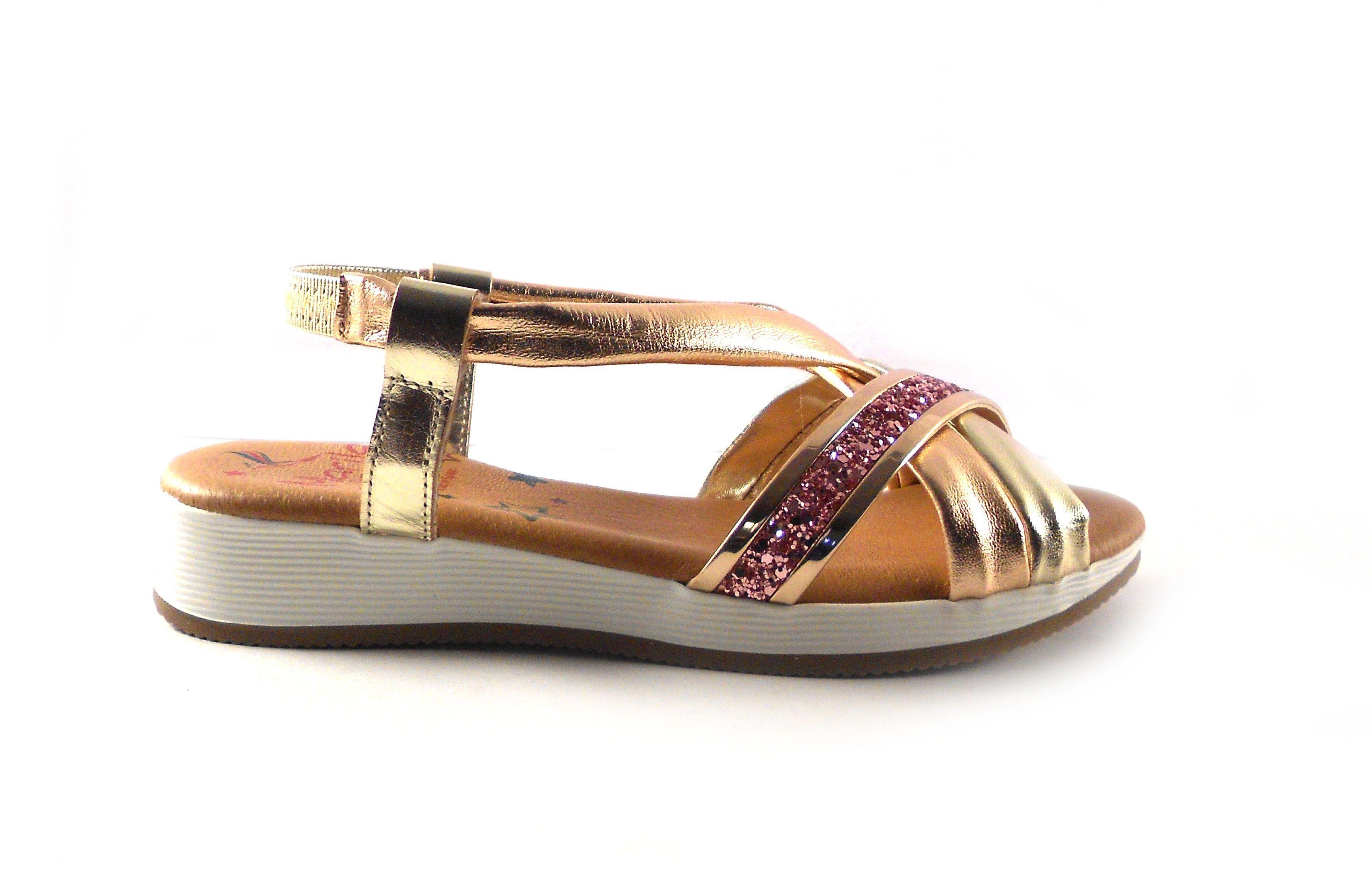 Marila Sandalias De Doradas Shoes Rosa En Glitter Tiras Piel Con Planas 53q4RjcLA