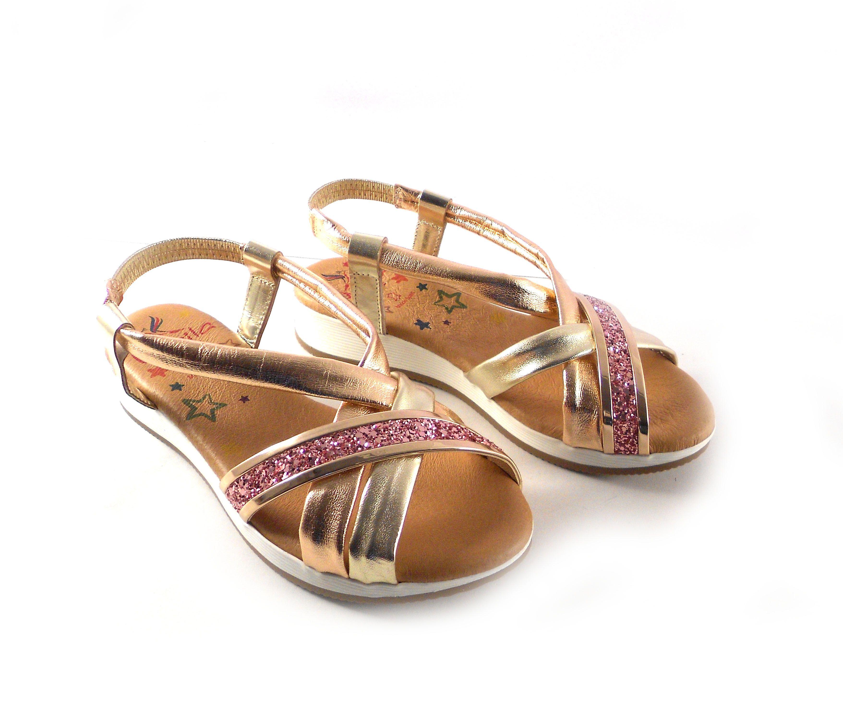 Piel Shoes De Marila Glitter Con En Tiras Rosa Planas Sandalias Doradas CoWdBrxe