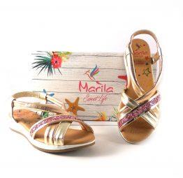 Sandalias planas de tiras Marila Shoes en piel doradas con glitter rosa