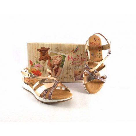 Sandalias Marila Shoes tiras rosa oro con serpiente print N1173