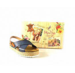 Zuecos tiras cruzadas azul marino Marila Shoes con trabilla cuero