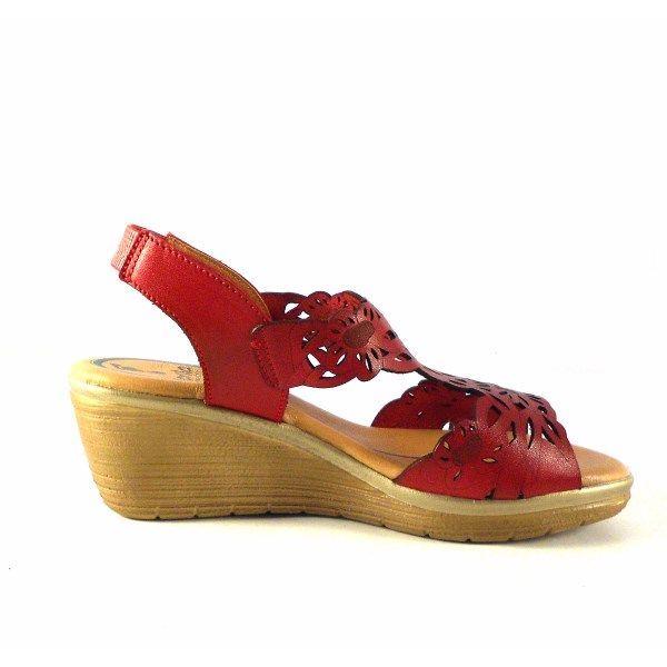 04bf42ab454 Sandalias confort de cuña Marila Shoes rojo picado N7153
