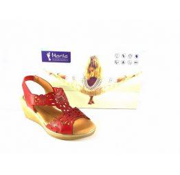 Sandalias confort de cuña Marila Shoes rojo picado N7153