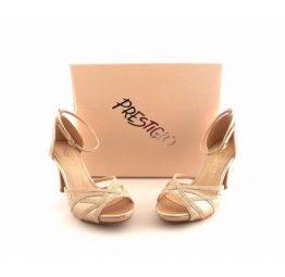 Sandalias fiesta mujer Prestigio doradas con pulsera al tobillo