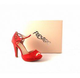 Sandalias mujer Prestigio antelina rojo con pulsera