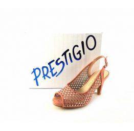 Sandalias de tacón Prestigio peep toe rosa salmón
