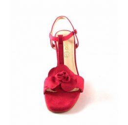 Sandalias de tacón Prestigio color rosa fucsia en antelina