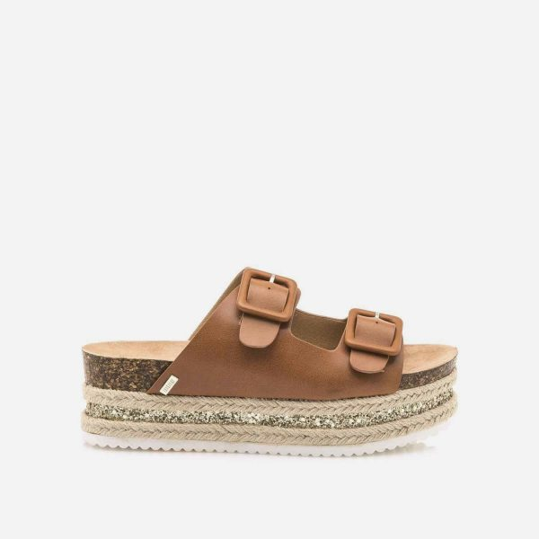 Sandalias bloque de dos tiras mustang modelo crox color cuero