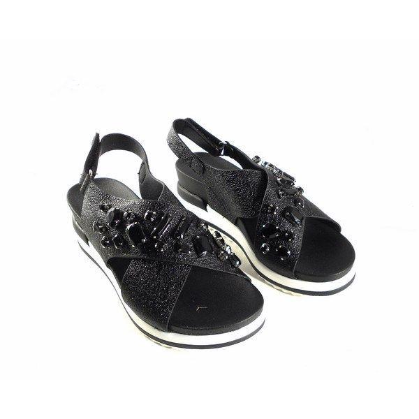 Sandalias cuña tiras cruzadas D'Angela Shoes color negro