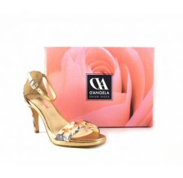 Sandalias de fiesta D'Angela estampado floral sobre oro bronce