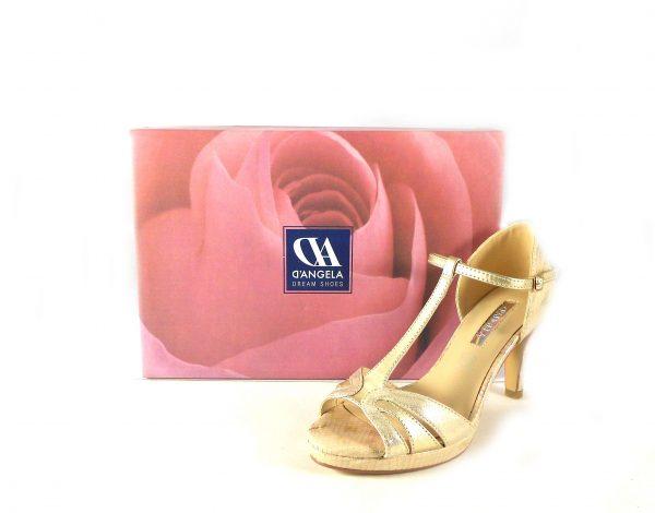 Sandalias fiesta D'Angela Shoes doradas con tira en forma de T