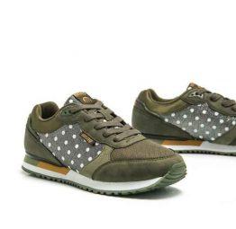 Zapatillas sneakers para mujer Mustang ESTELE color kaki con topos