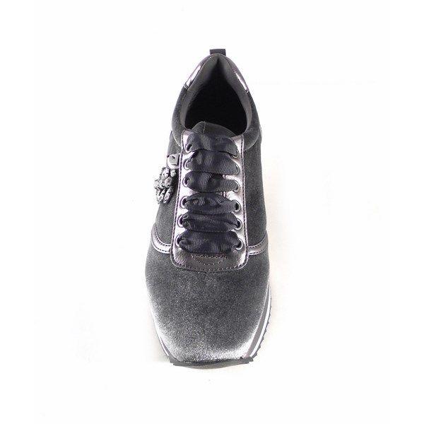 Sneakers Gioseppo de terciopelo gris con pedrería 46074