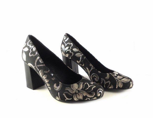 Zapatos Negros Estampado De Floral Gabriela Moll Plata Salón Y2IDHW9eE