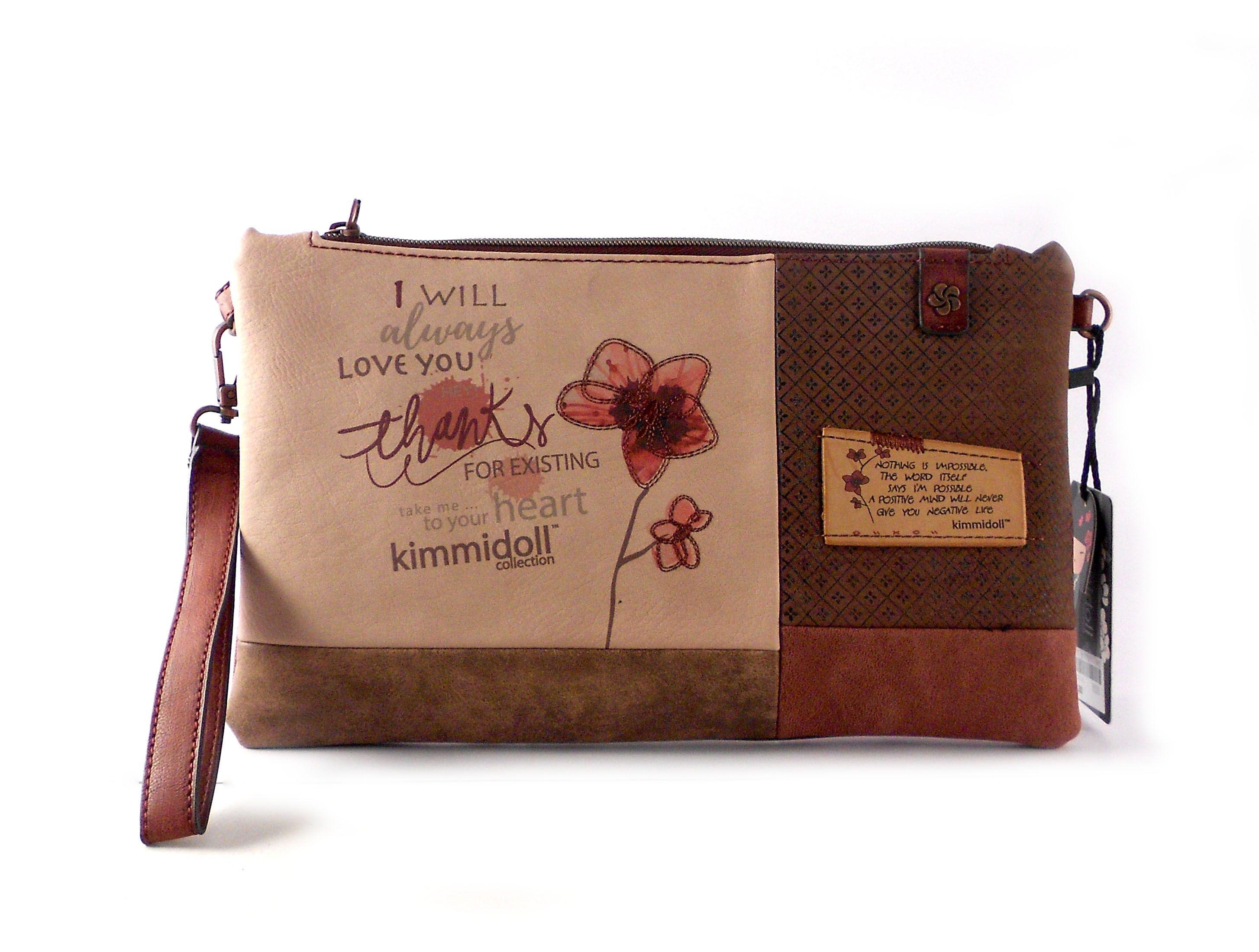 Bandolera Kimmidoll floral print marrón