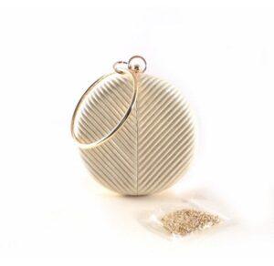Clutch rígido circular E.Ferri oro / plata con muñequera metálica