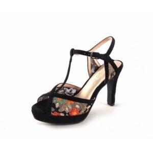 Sandalias de tacón alto Prestigio estampado floral color negro