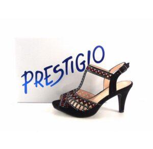 Sandalias de tacón Prestigio con pedrería color negro
