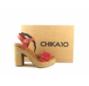 Sandalias de tacón Chika10 Bevel color rojo
