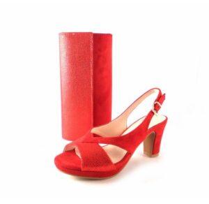 Sandalias de fiesta con tacón medio Prestigio color rojo C-108