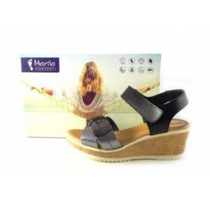 Sandalias Marila Shoes Comfort N8027 plateadas con cierre de velcro