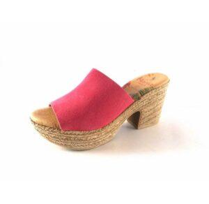 Zuecos Marila Shoes con tacón medio de yute N8135 rosa