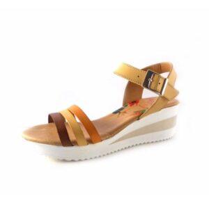 Sandalias de piel Marila Shoes con cuña media Atara N8112 nuez