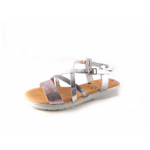 f065629dcc7 Sandalias planas de piel Marila Shoes N1171 plata
