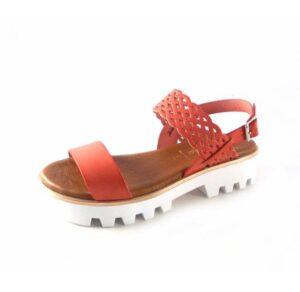 Sandalias de piel Marila Shoes con plataforma N1221 coral