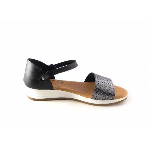 Plata Sandalias Shoes Planas N1204 Piel Marila Talón Cubierto Con hdCtsrQ