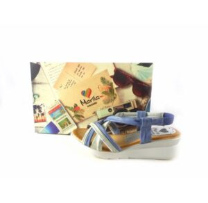 Sandalias de tiras Marila Shoes N619 combinado celeste