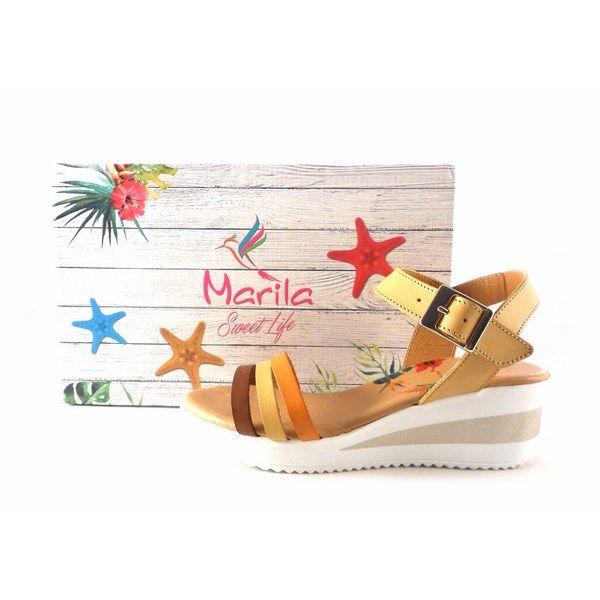 Sandalias Marila De Nuez Con Atara Shoes Piel Cuña Media N8112 l3u1TFKJc5