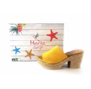 Zuecos Marila Shoes con tacón medio de yute N8135 amarillo