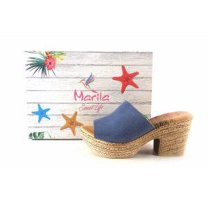 Zuecos Marila Shoes con tacón medio de yute N8135 azul