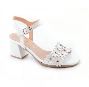 Sandalias piel para mujer D'Chicas blancas con tacón ancho