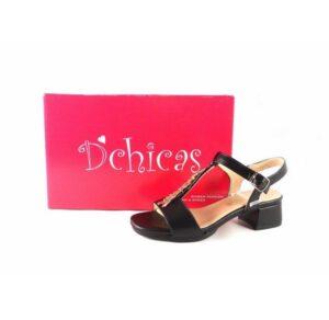Sandalias para mujer piel D'Chicas tacón bajo color negro